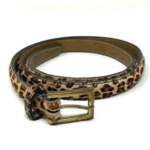 Banana Republic Leather Calf Hair Leopard Belt 34